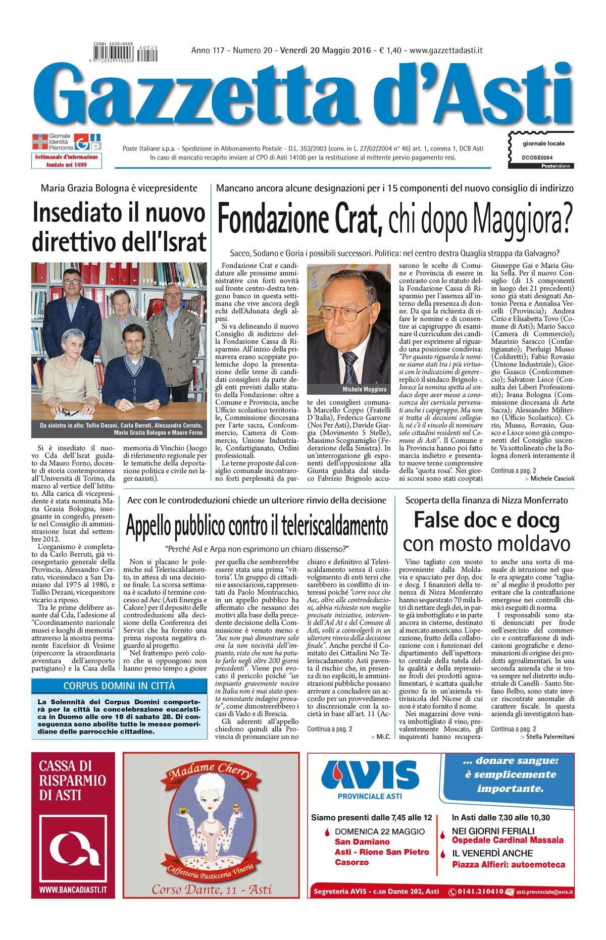 Prima pagina – 20 maggio 2016