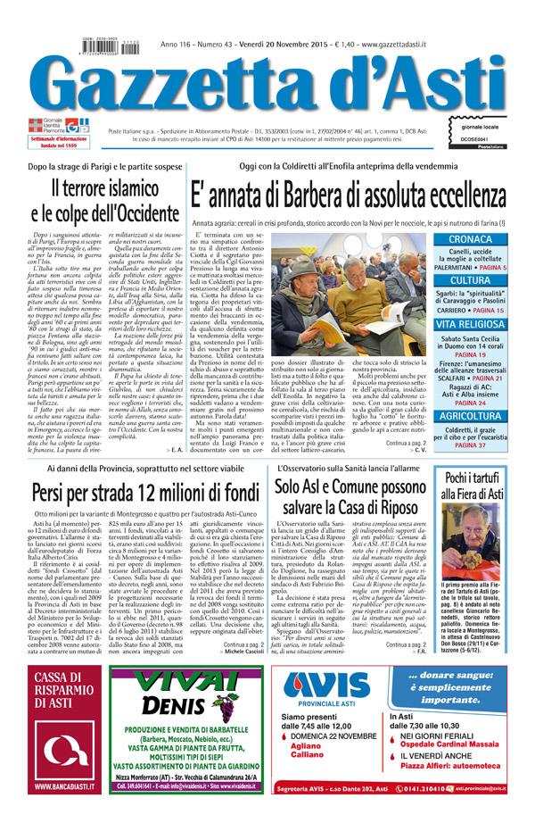 Prima pagina – 20 novembre 2015