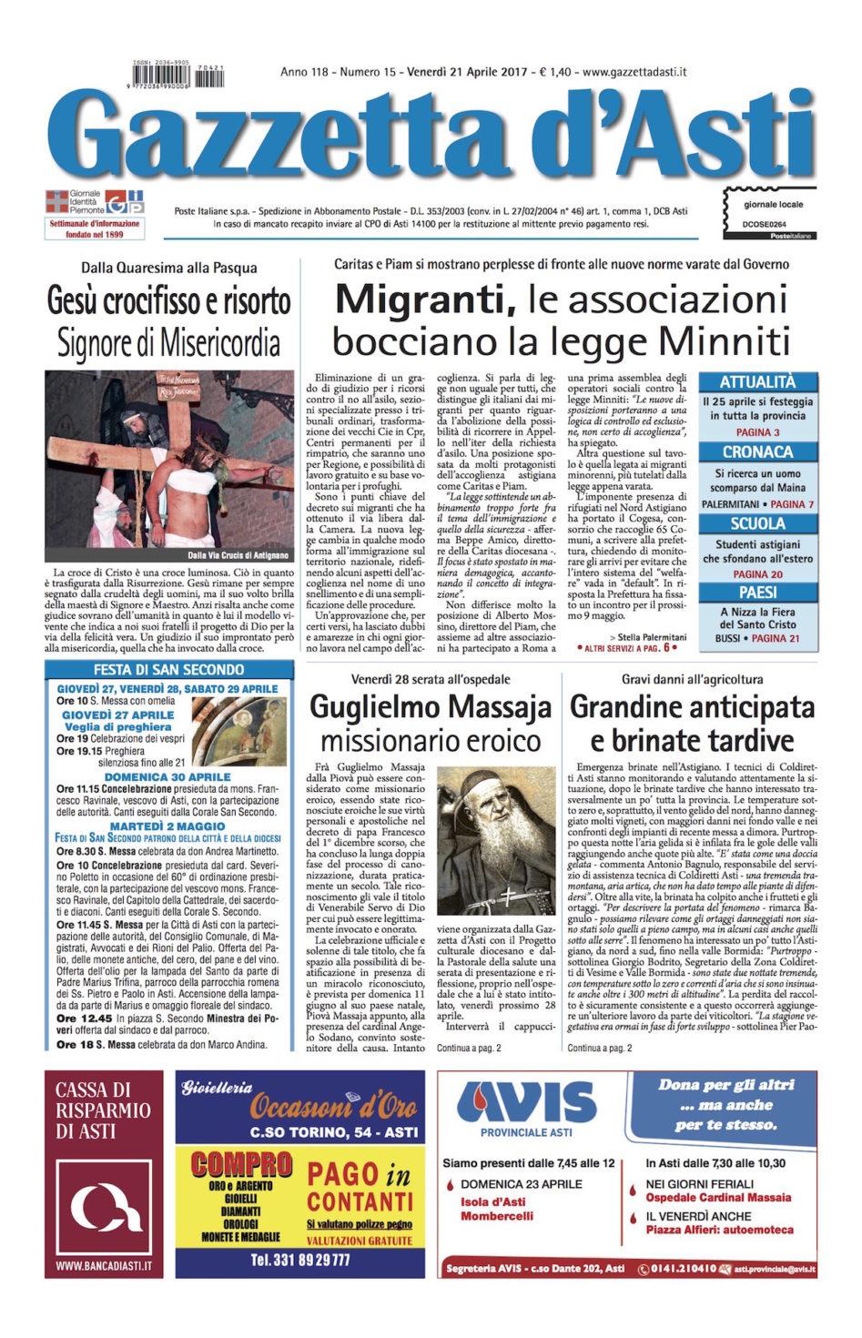 Prima pagina – 21 aprile 2017