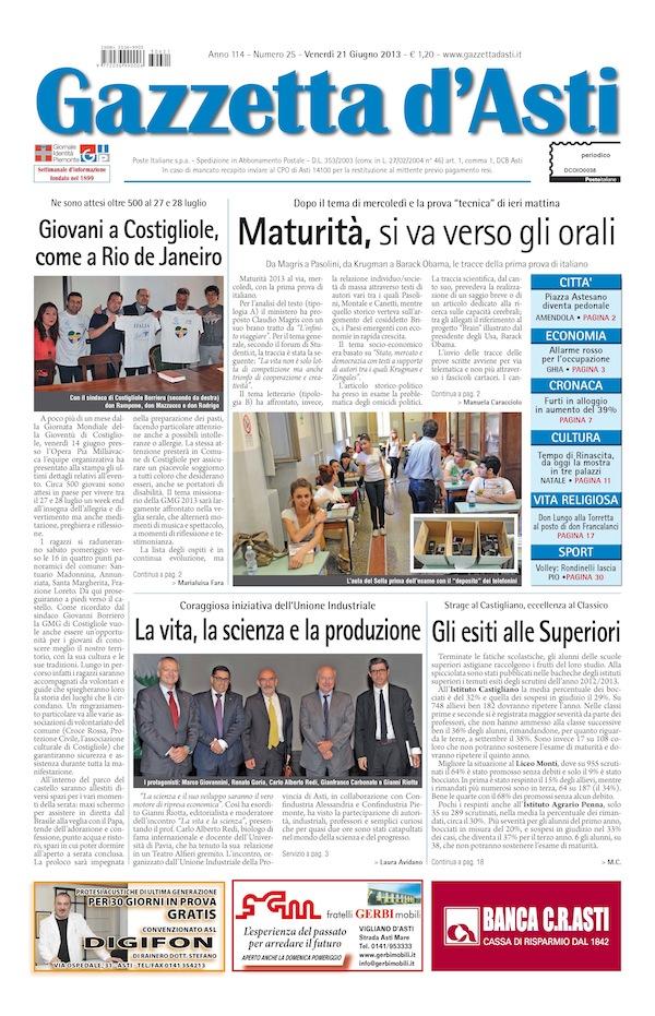 Prima pagina – 21 giugno 2013