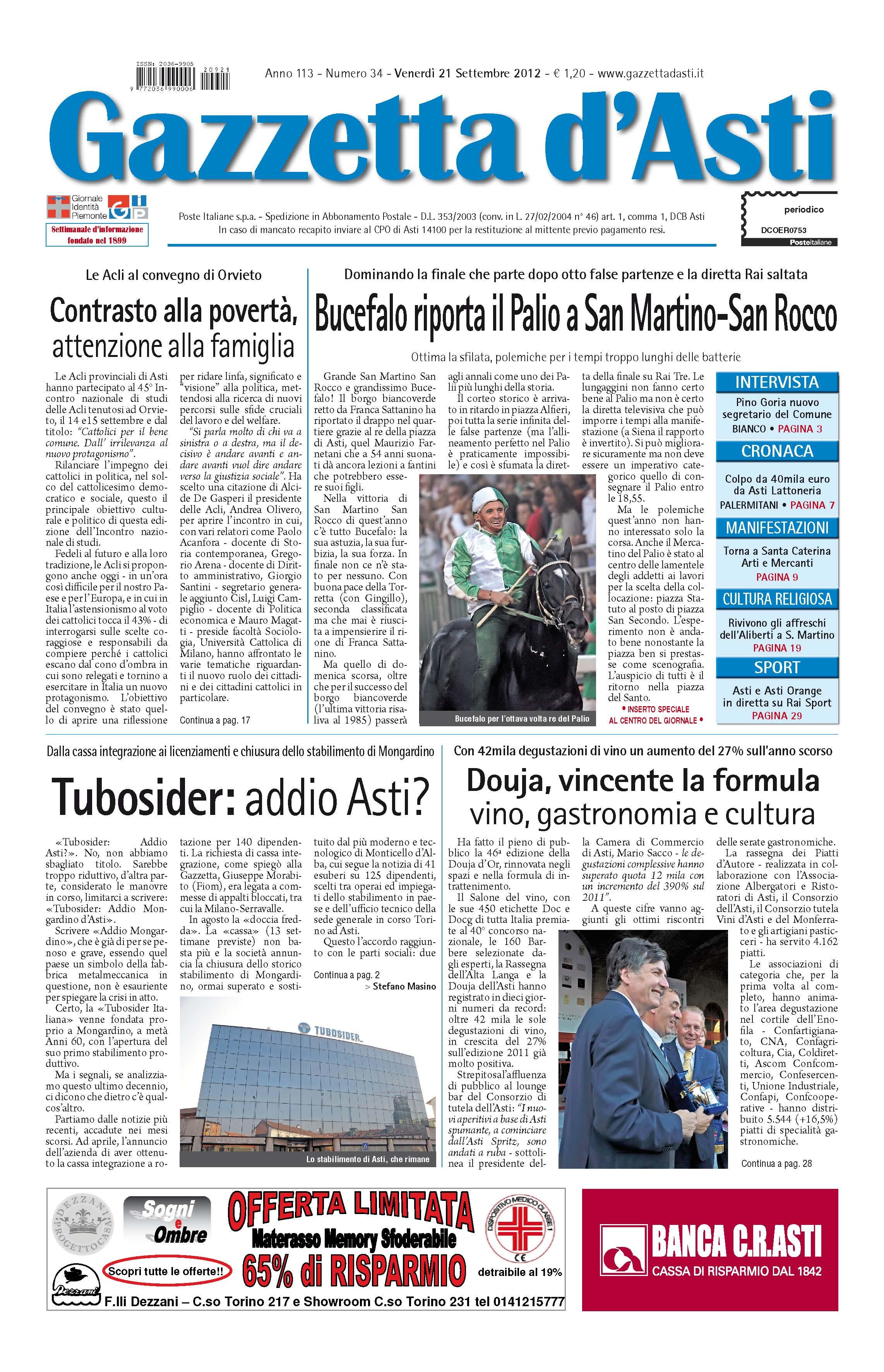 Prima pagina – 21 settembre 2012