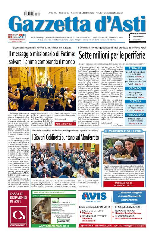 Prima pagina – 21 ottobre 2016