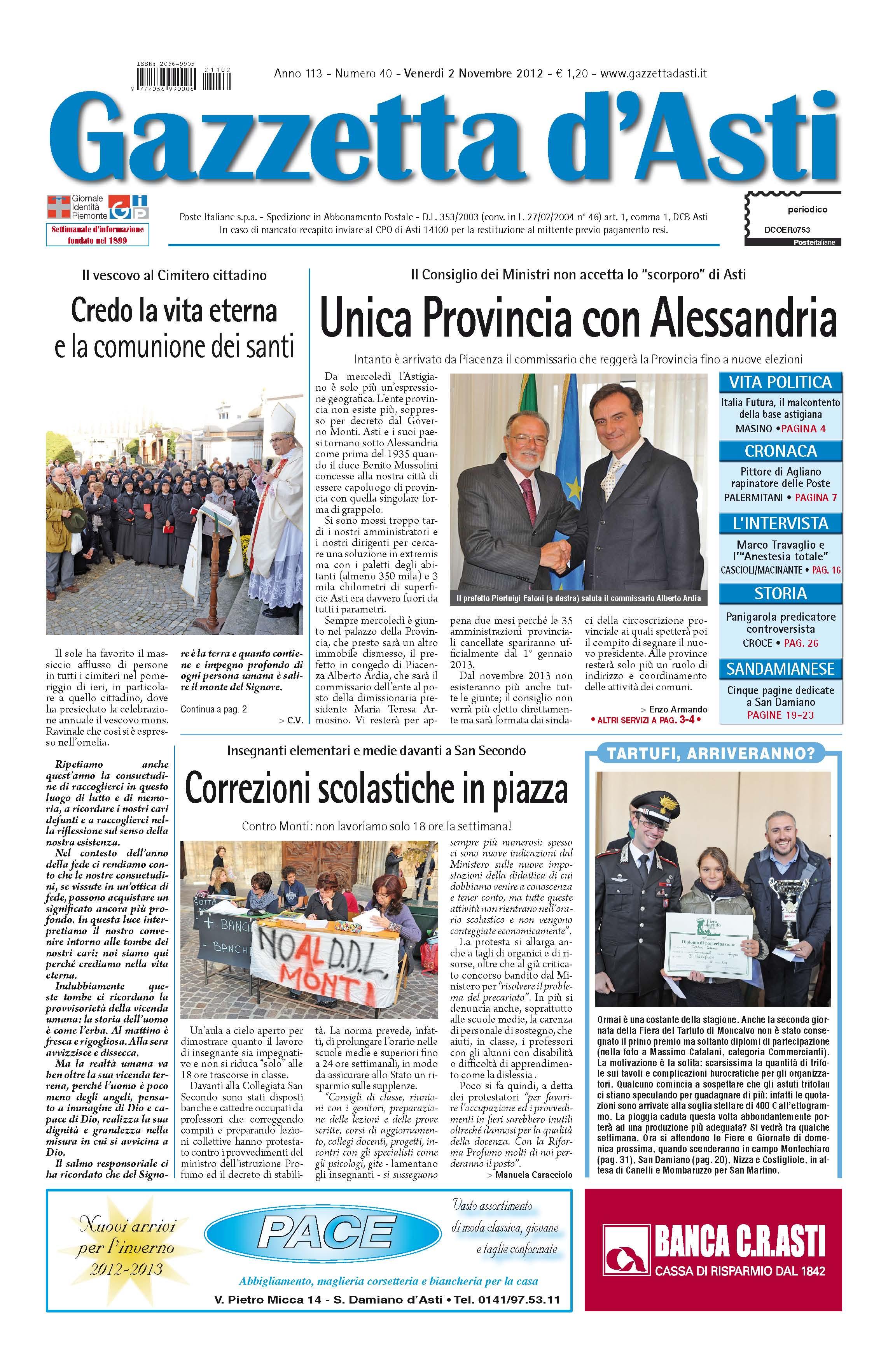 Prima pagina – 2 novembre 2012