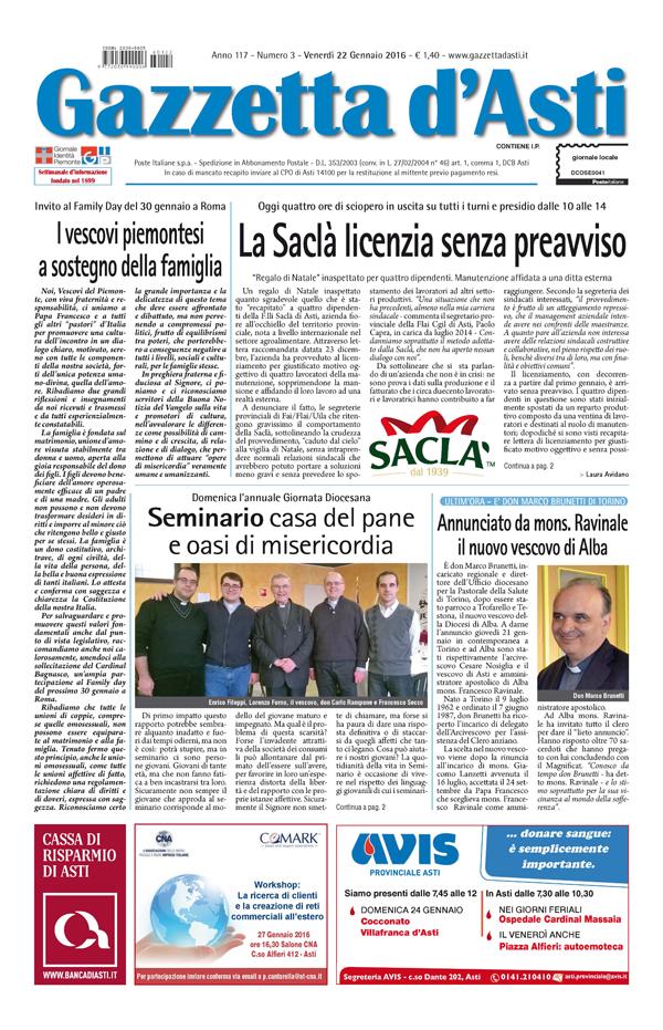 Prima pagina – 22 gennaio 2016