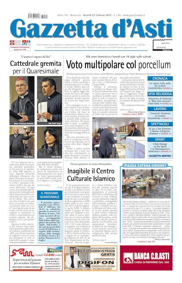 Prima pagina – 22 febbraio 2013