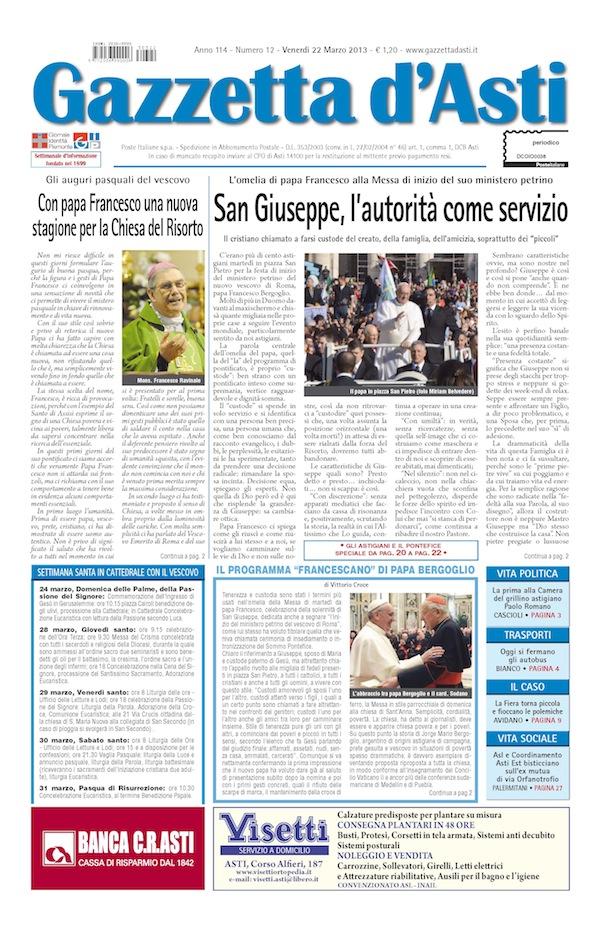 Prima pagina – 22 marzo 2013