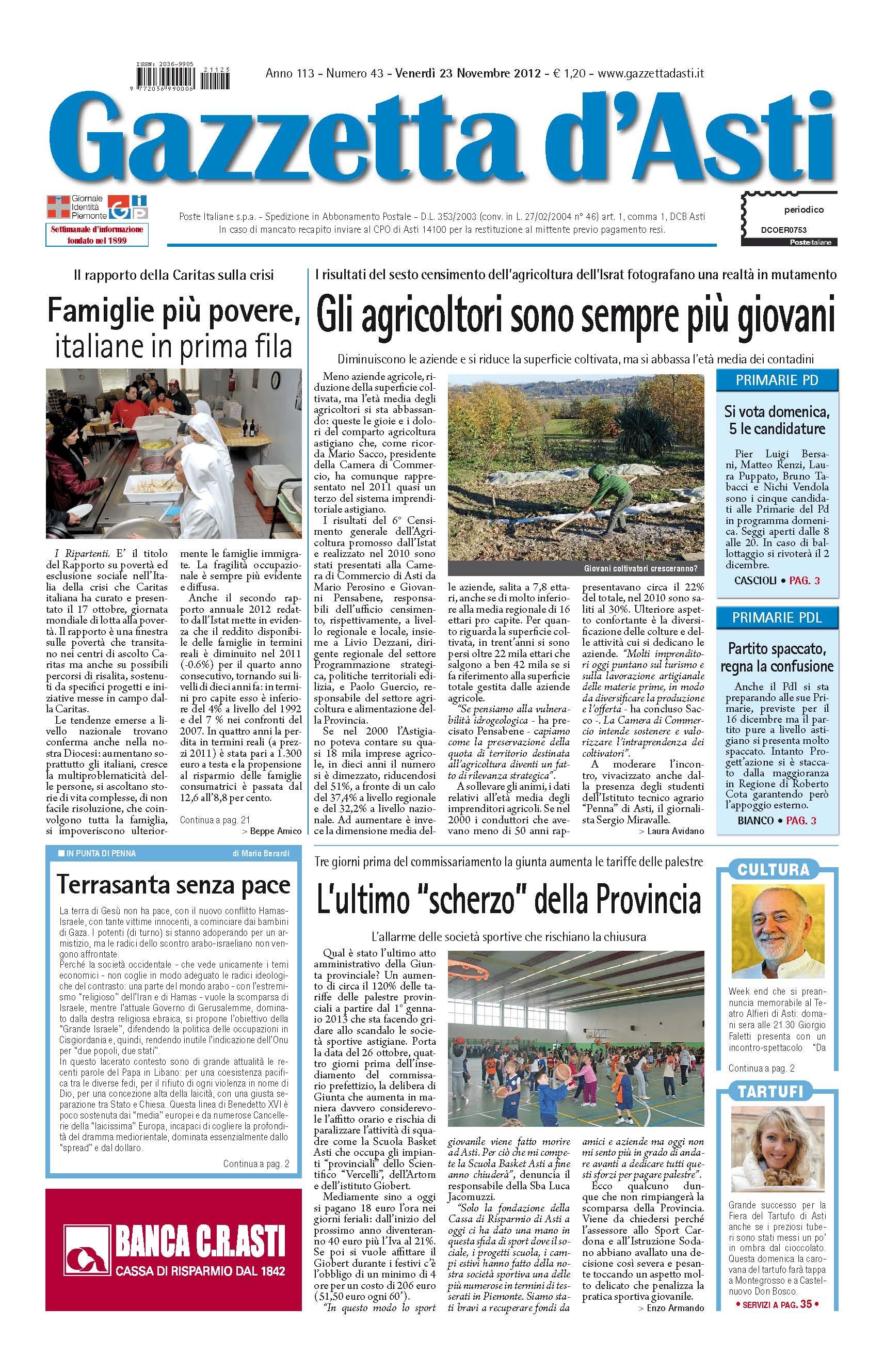 Prima pagina – 23 novembre 2012