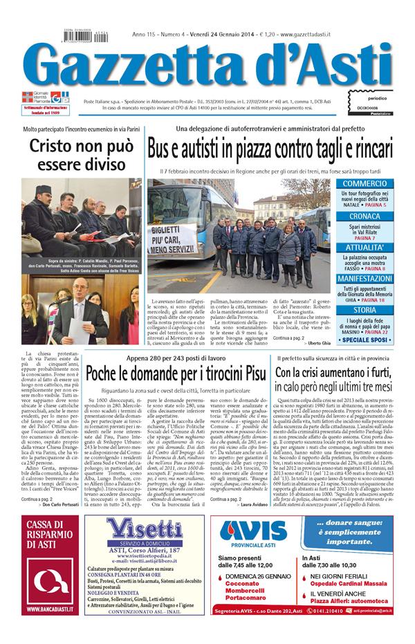 Prima pagina – 24 gennaio 2014