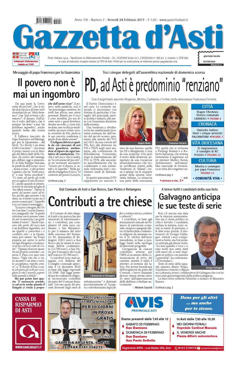 Prima pagina – 24 febbraio 2017