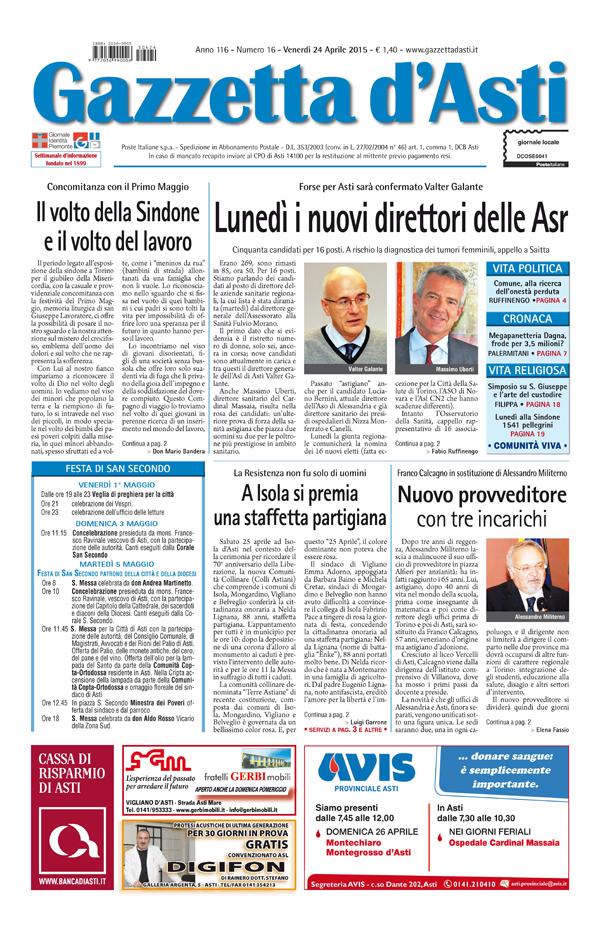 Prima pagina – 24 aprile 2015