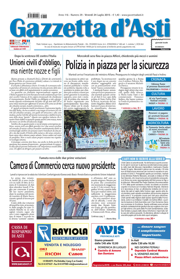 Prima pagina – 24 luglio 2015