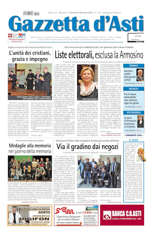 Prima pagina – 25 gennaio 2013