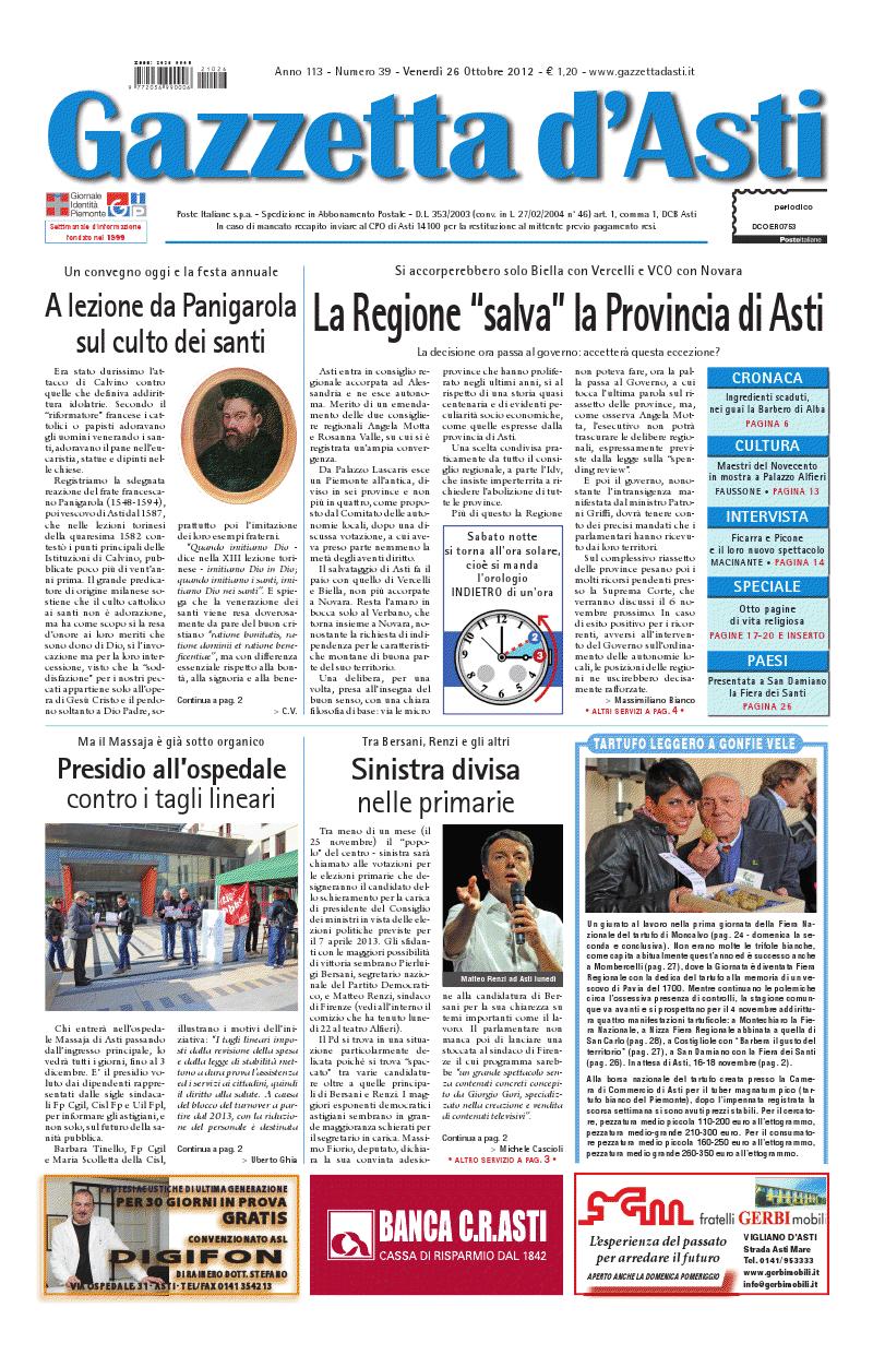 Prima pagina – 26 ottobre 2012