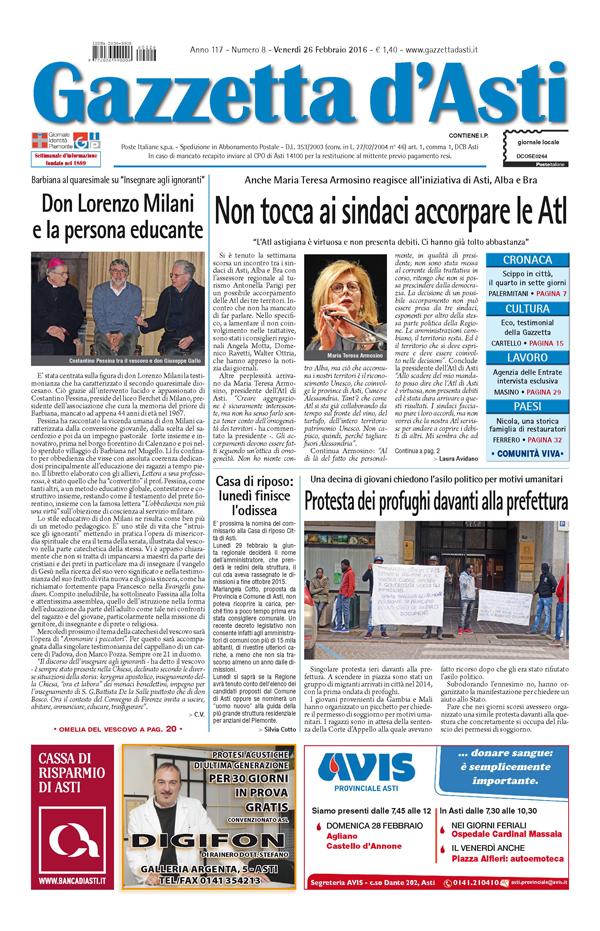 Prima pagina – 26 febbraio 2016