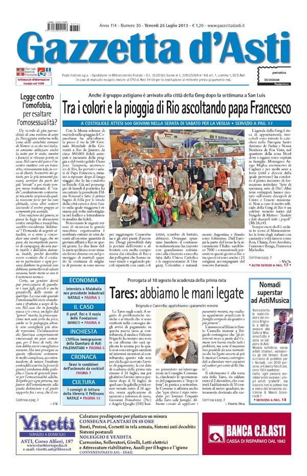 Prima pagina – 26 luglio 2013