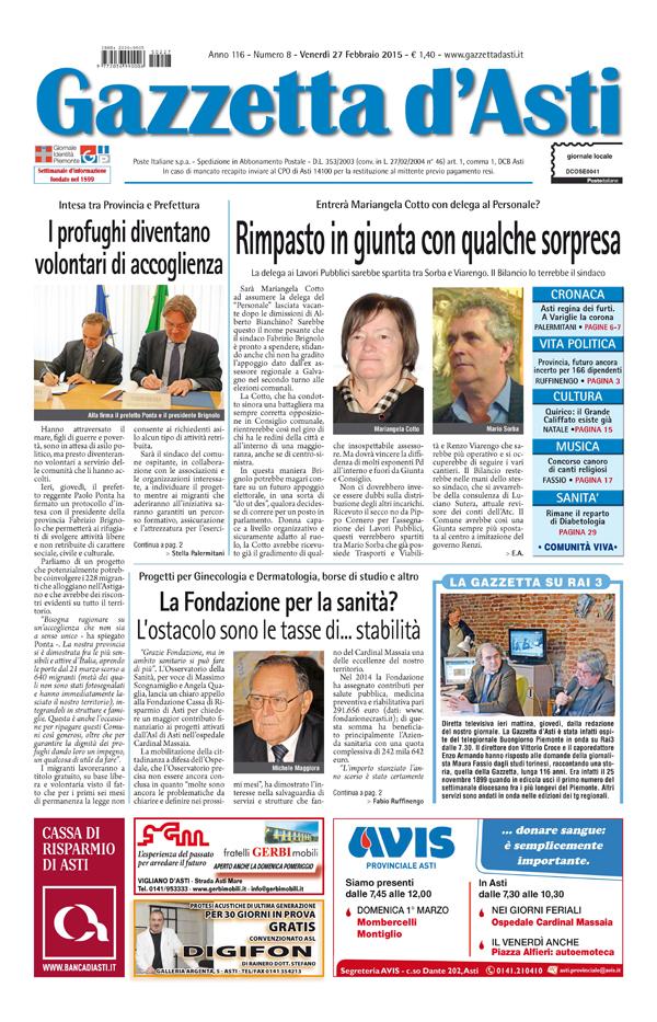Prima pagina – 27 febbraio 2015