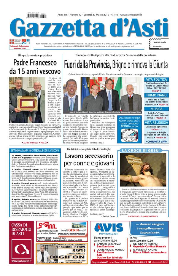 Prima pagina – 27 marzo 2015