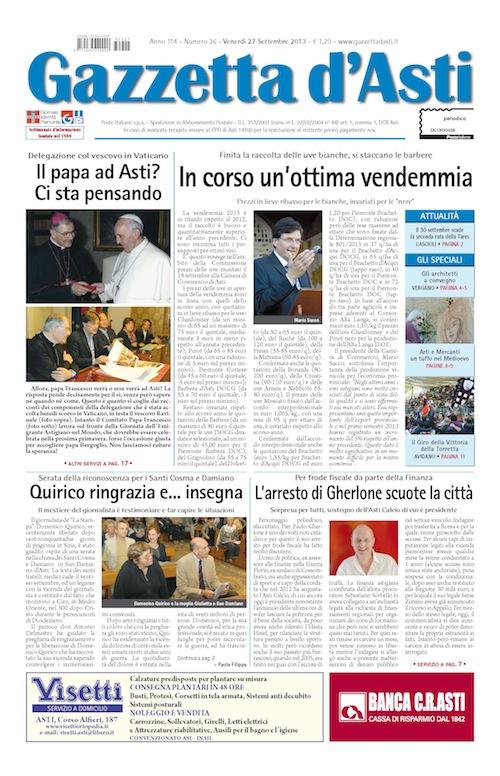 Prima pagina – 27 settembre 2013