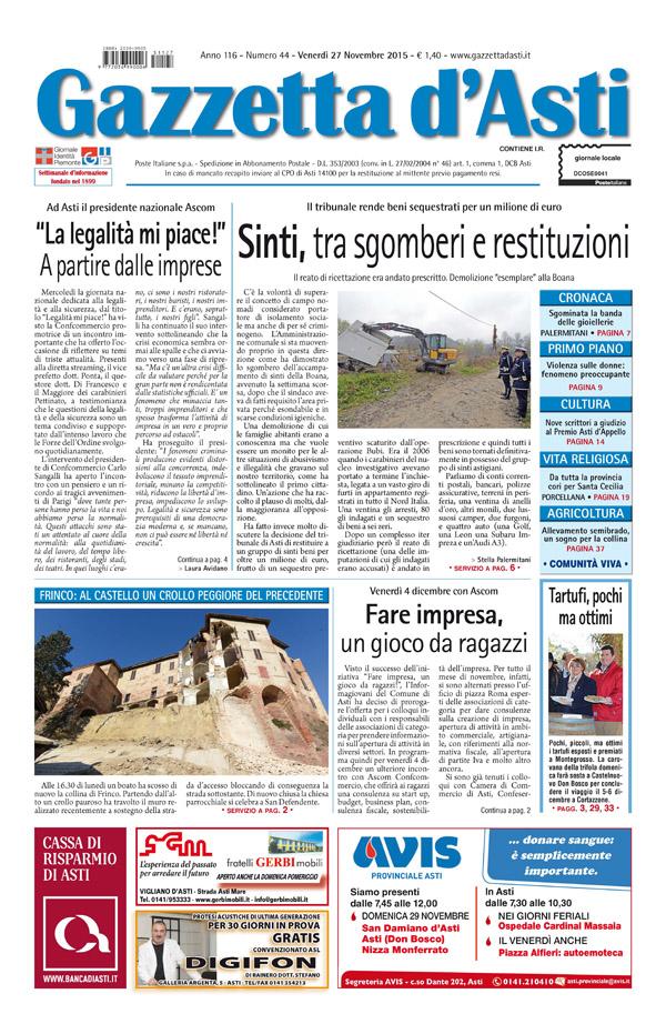 Prima pagina – 27 novembre 2015