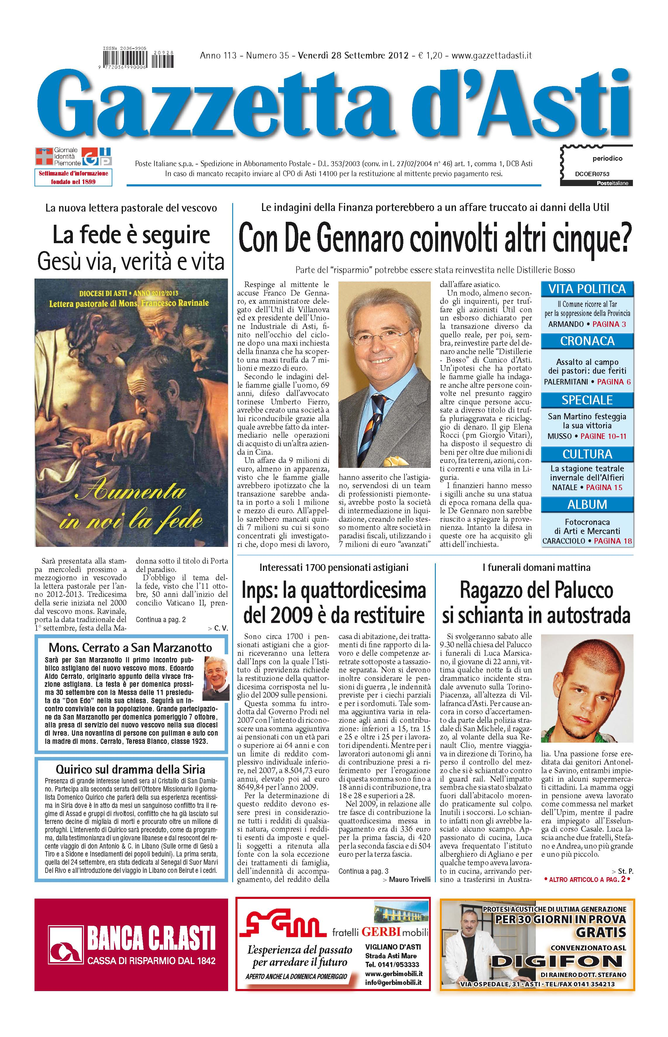 Prima pagina – 28 settembre 2012