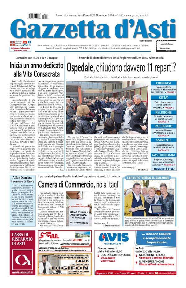 Prima pagina – 28 novembre 2014