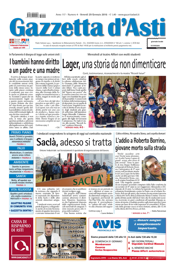 Prima pagina – 29 gennaio 2016