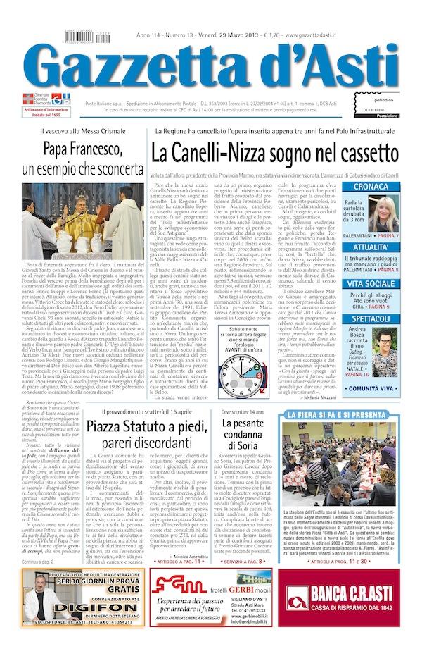 Prima pagina – 29 marzo 2013