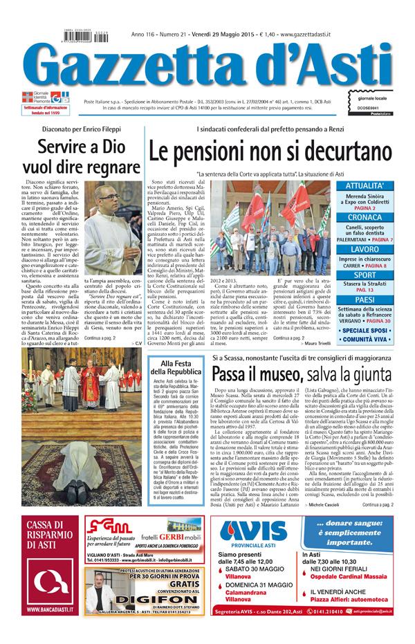 Prima pagina – 29 maggio 2015