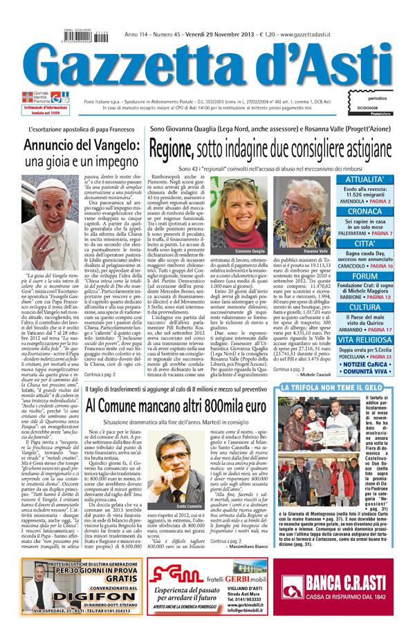 Prima pagina – 29 novembre 2013