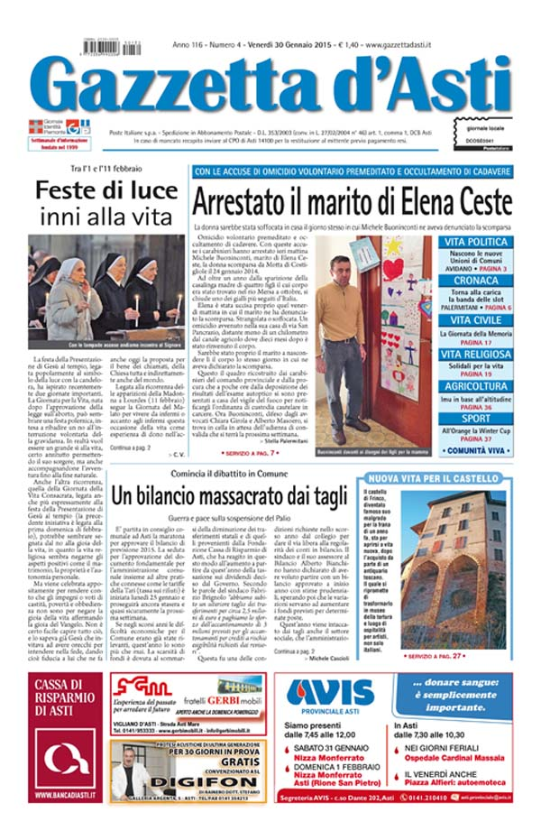 Prima pagina – 30 gennaio 2015