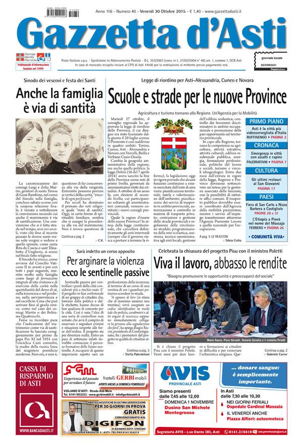 Prima pagina – 30 ottobre 2015