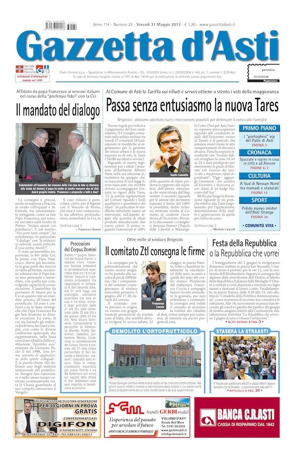 Prima pagina – 31 maggio 2013
