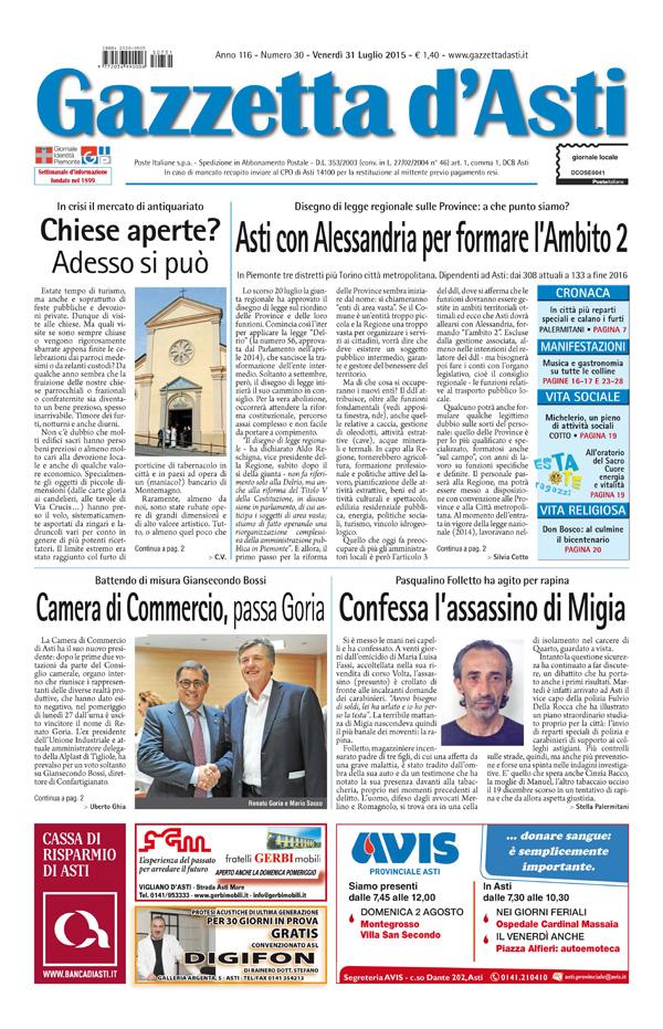 Prima pagina – 31 luglio 2015