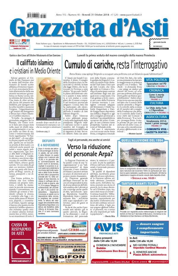 Prima pagina – 31 ottobre 2014