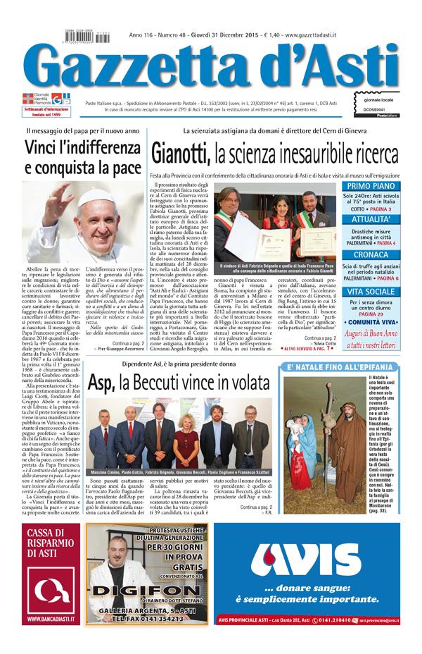 Prima pagina – 31 dicembre 2015