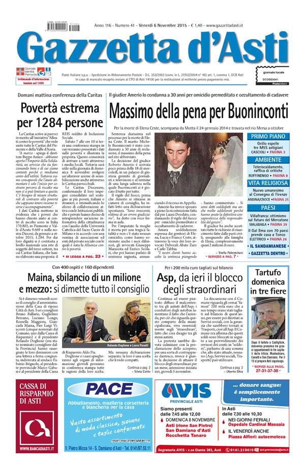Prima pagina – 6 novembre 2015