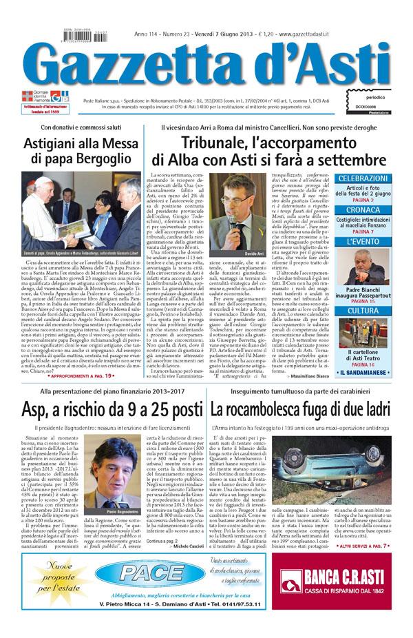 Prima pagina – 7 giugno 2013