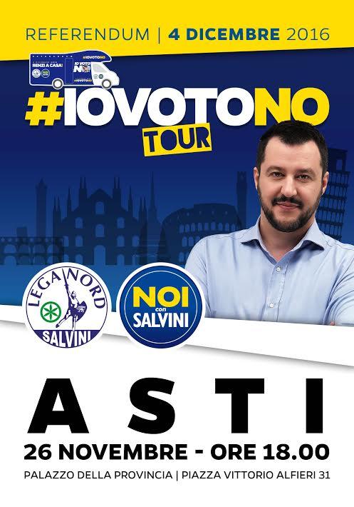 """Referendum. Matteo Salvini ad Asti per il """"no"""""""