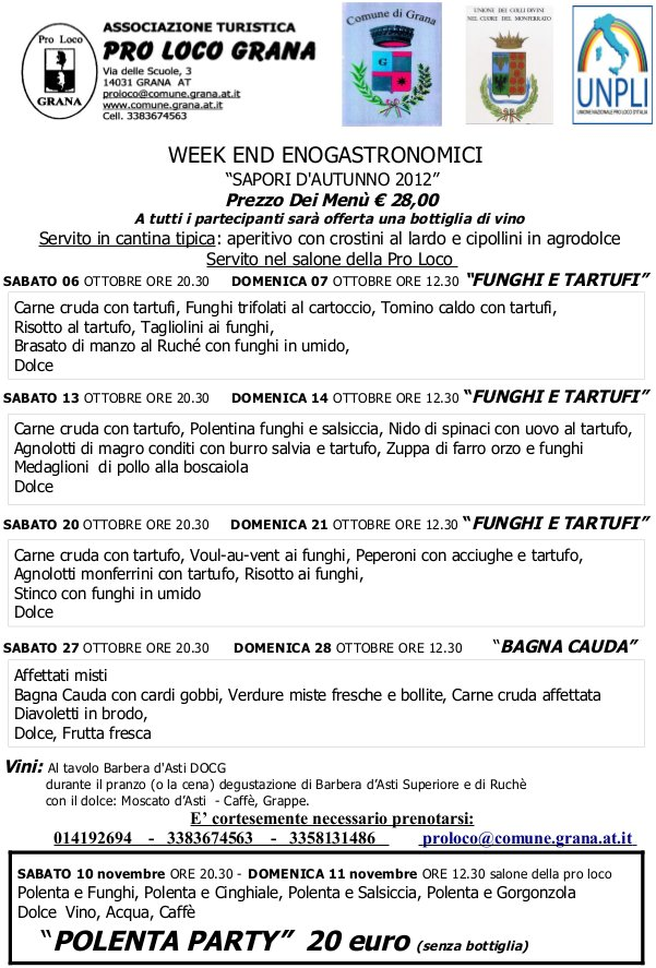 """Sapori d'autunno"": a Grana i week end enogastronomici"