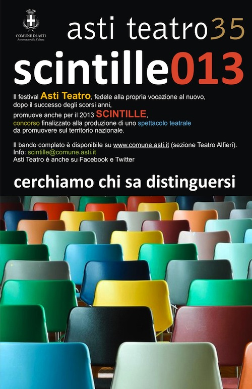 """Asti Teatro 35: prorogato il termine ultimo per partecipare a """"Scintille"""""""