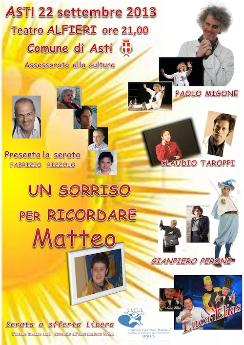 """Al Teatro Alfieri """"Un sorriso per ricordare Matteo"""""""