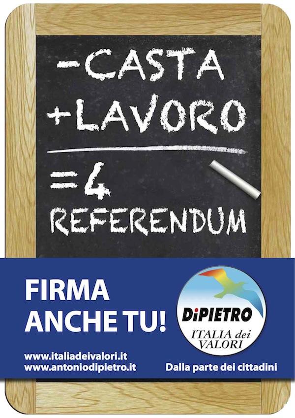 """Prosegue nell'Astigiano la raccolta firme """"- Casta +  Lavoro= 4 Referendum"""""""