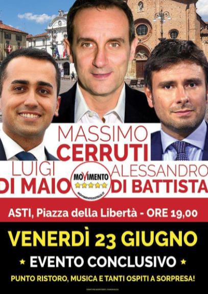 Di Maio e Di Battista ad Asti per Cerruti sindaco