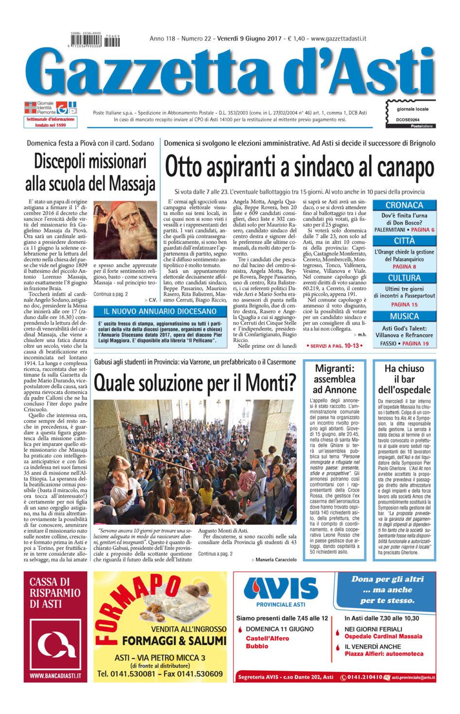Prima pagina – 9 giugno 2017