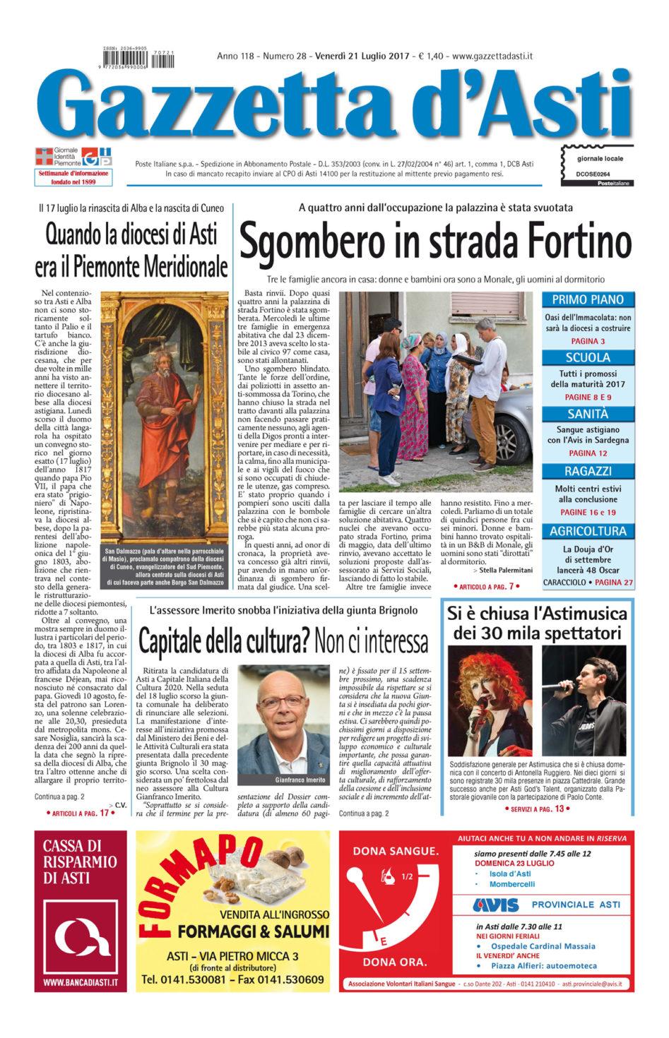 Prima pagina – 21 luglio 2017