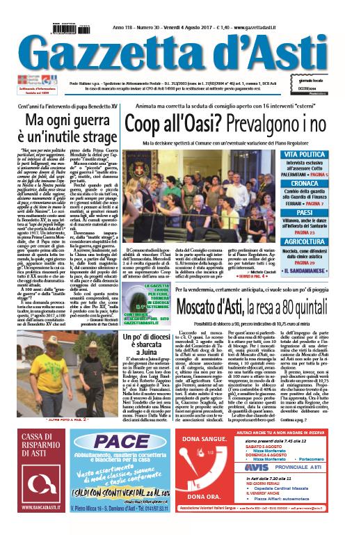 Prima pagina – 4 agosto 2017