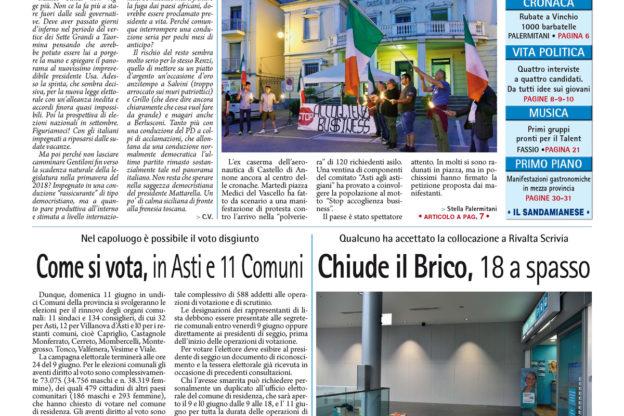 Prima pagina – 2 giugno 2017