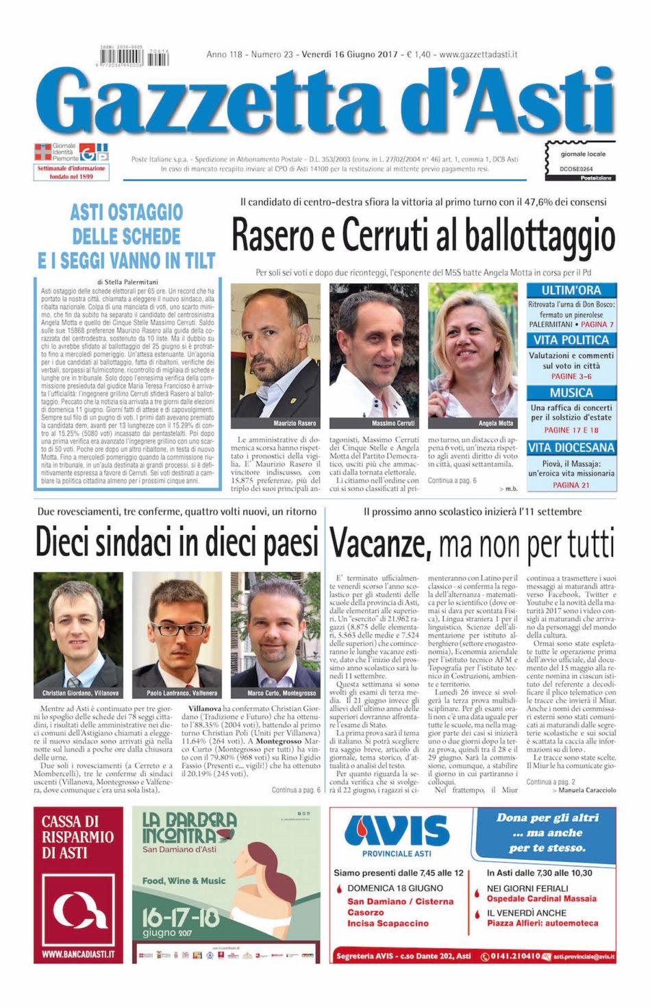 Prima pagina – 16 giugno 2017