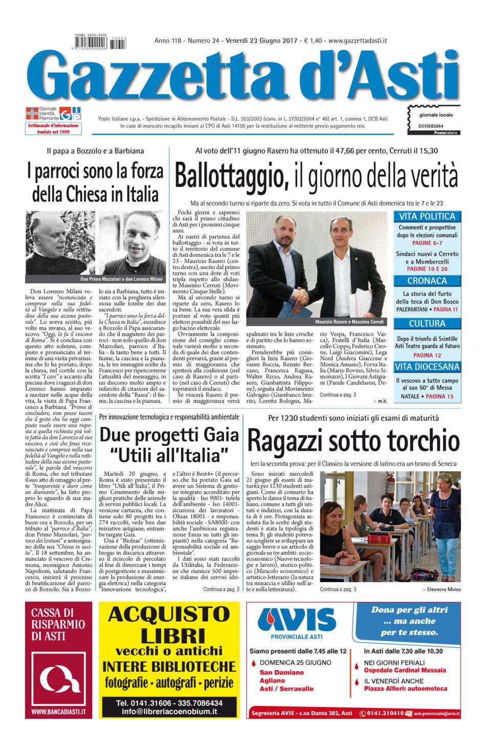 Prima pagina – 23 giugno 2017