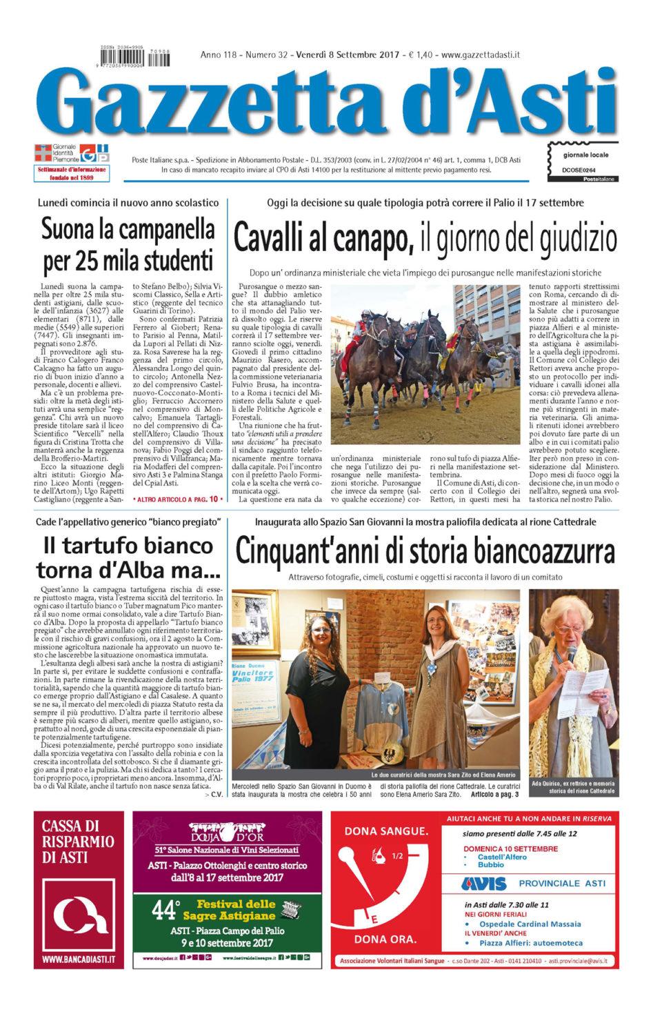 Prima pagina – 8 settembre 2017
